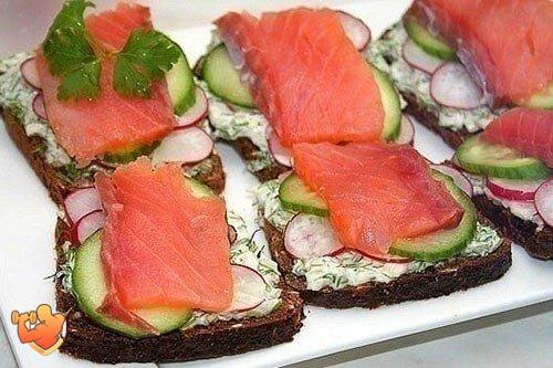 фото и рецепт полезный бутерброд с красной рыбой и сыром